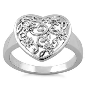 Jewelry - Sterling Silver Heart Floral Filigree Ring